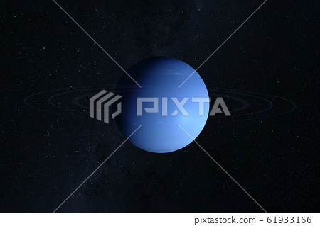 Planet Neptune, on a dark background. Elements of 61933166