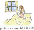 從床上微笑著窗外看的女人 61934519