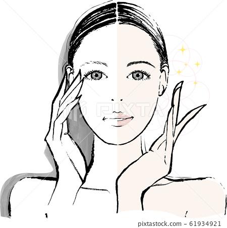 女人的眉毛之前和之後 61934921