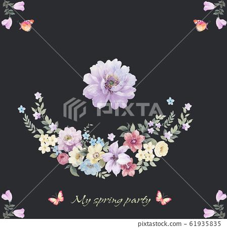 深底上優雅的水彩花卉素材和邀請卡設計 61935835