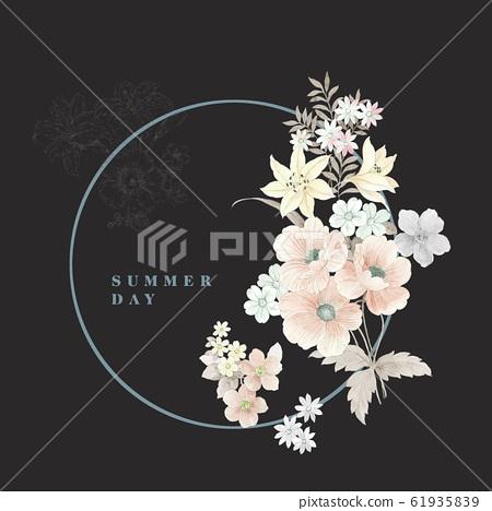 深底上優雅的水彩花卉素材和邀請卡設計 61935839
