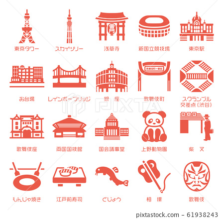 Tokyo Famous products / Specialty Icon material set (with name) 61938243