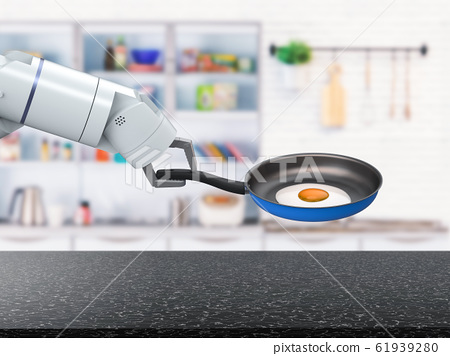 chef robot hold frying pan 61939280