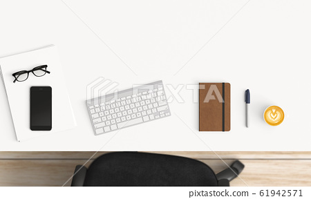 Modern workspace. Top view. Flat lay style. 61942571