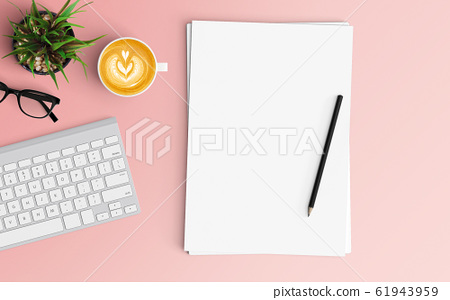 Minimal office desk workplace with blank paper, 61943959