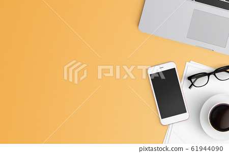 Modern workspace. Top view. Flat lay style. 61944090