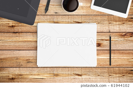 Modern workspace. Top view. Flat lay style. 61944102