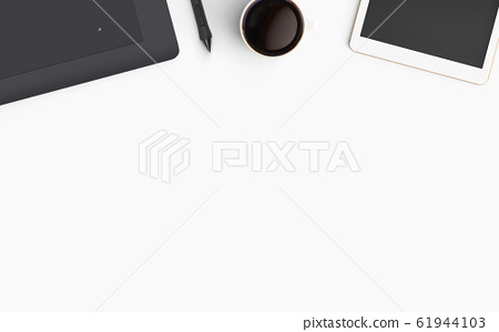 Modern workspace. Top view. Flat lay style. 61944103