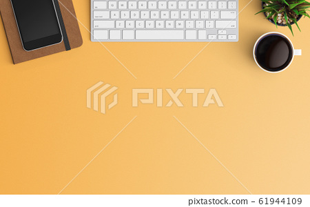 Modern workspace. Top view. Flat lay style. 61944109