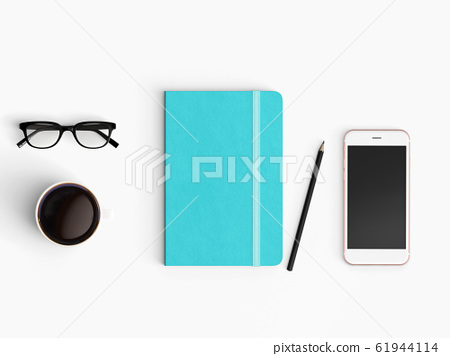 Modern workspace. Top view. Flat lay style. 61944114