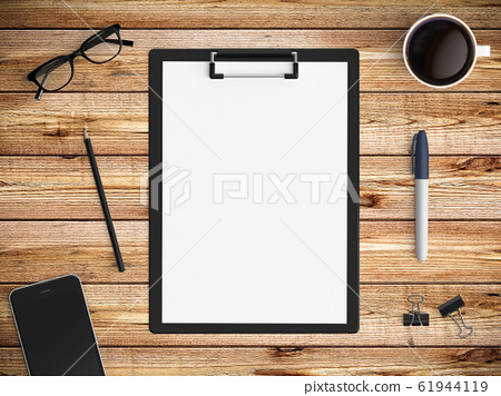 Modern workspace. Top view. Flat lay style. 61944119