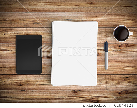 Modern workspace. Top view. Flat lay style. 61944123