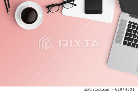 Modern workspace. Top view. Flat lay style. 61944301