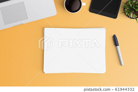 Modern workspace. Top view. Flat lay style. 61944332