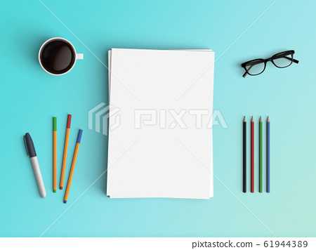 Modern workspace. Top view. Flat lay style. 61944389