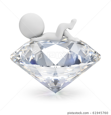 3d small people - lies on the diamond 61945760