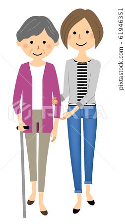 帶拐杖的老年人步行輔助護理 61946351
