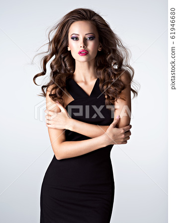 beautiful woman with long brown  hair and slim 61946680
