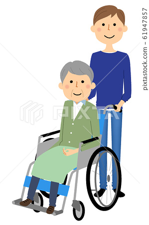 Elderly people in wheelchairs caregivers 61947857