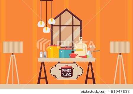 Kitchen interior flat style, cooking setup food blog vector illustration 61947858