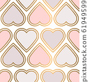 alentine seamless pattern with pink hearts. 61949599