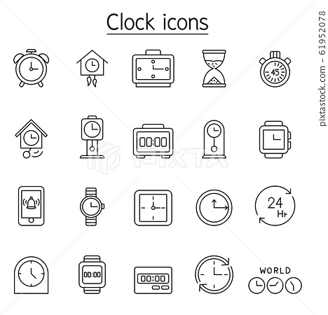 Clock, watch, stopwatch icon set in thin line 61952078