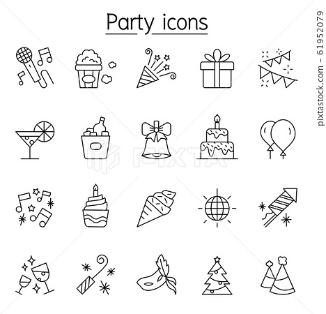 Party icons set in thin line style 61952079