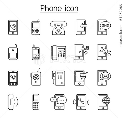 Phone, telephone, smartphone icons set in thin 61952083