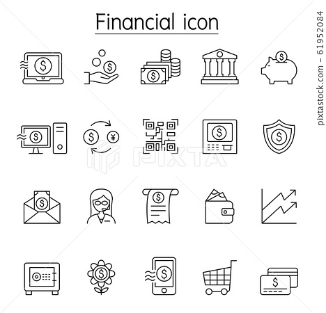 Financial & Banking icon set in thin line style 61952084