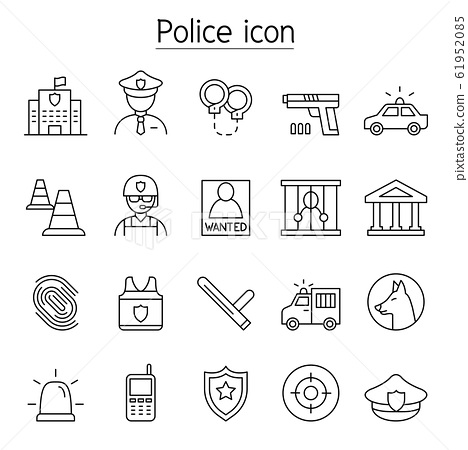 Police icon set in thin line style 61952085