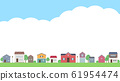 Illustration of an empty frame with houses lined up in landscape_16: 9 61954474