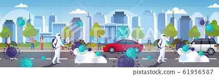 scientists in hazmat suits cleaning disinfecting coronavirus cells epidemic MERS-CoV virus wuhan 2019-nCoV pandemic health risk modern city street cityscape background horizontal 61956587