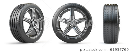 Car wheel on alloy disc with tyre isolated on 61957769