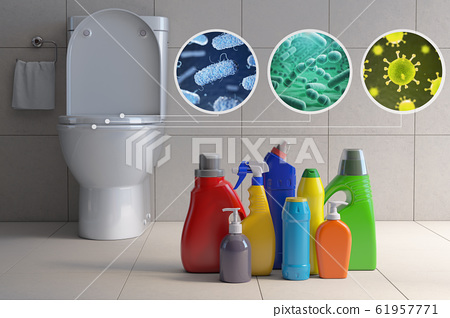 Toilet bowl with different types of bacteria, 61957771