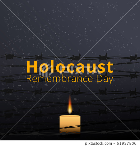 Barbed wire and one memorial candle, International 61957806