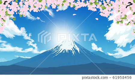 Mount Fuji and cherry blossoms 61958456