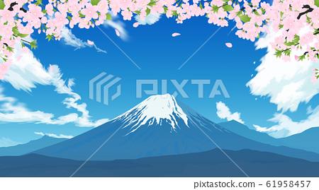후지산과 벚꽃 61958457