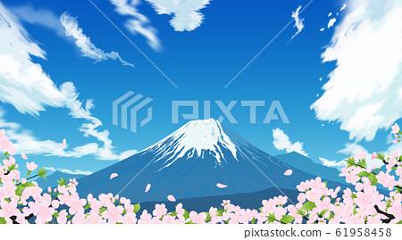 富士山和樱花 61958458