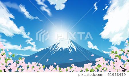 후지산과 벚꽃 61958459