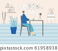 People siting at the desk. Vector design. 61958938