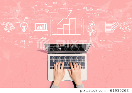 Business growth analysis with person using laptop 61959268