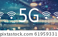 5G network with blurred city lights 61959331