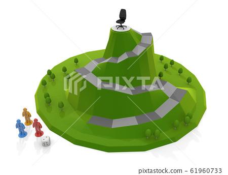 사업의 출세 레이스. 사장을 목표로 보드 게임. 3D 일러스트 61960733