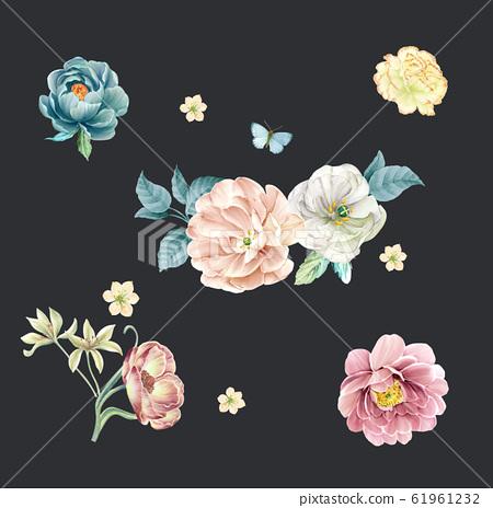 深底上顏色豐富的水彩花卉素材 61961232