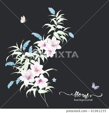 깊은 바닥에 화려한 수채화 꽃 재료 61961235