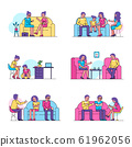 Psychotherapy, psychologist consults people patients vector illustration isolated set. 61962056