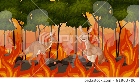 Scene with big wildfire with animal trapped in the 61963780