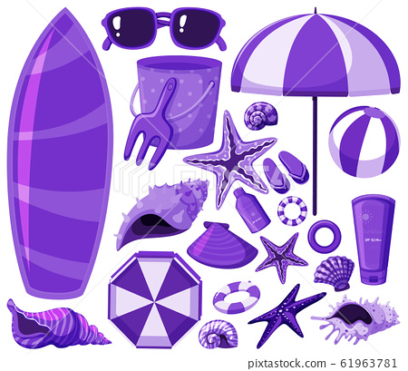 Isolated beach items set in purple 61963781