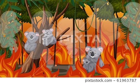 Scene with big wildfire with animal trapped in the 61963787