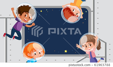 Frame template design with kids in space in 61963788